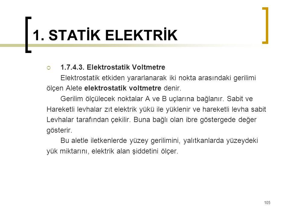 1. STATİK ELEKTRİK 1.7.4.3. Elektrostatik Voltmetre