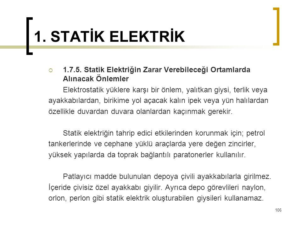 1. STATİK ELEKTRİK 1.7.5. Statik Elektriğin Zarar Verebileceği Ortamlarda Alınacak Önlemler.