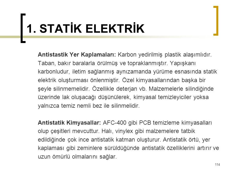 1. STATİK ELEKTRİK Antistastik Yer Kaplamaları: Karbon yedirilmiş plastik alaşımlıdır. Taban, bakır baralarla örülmüş ve topraklanmıştır. Yapışkanı.