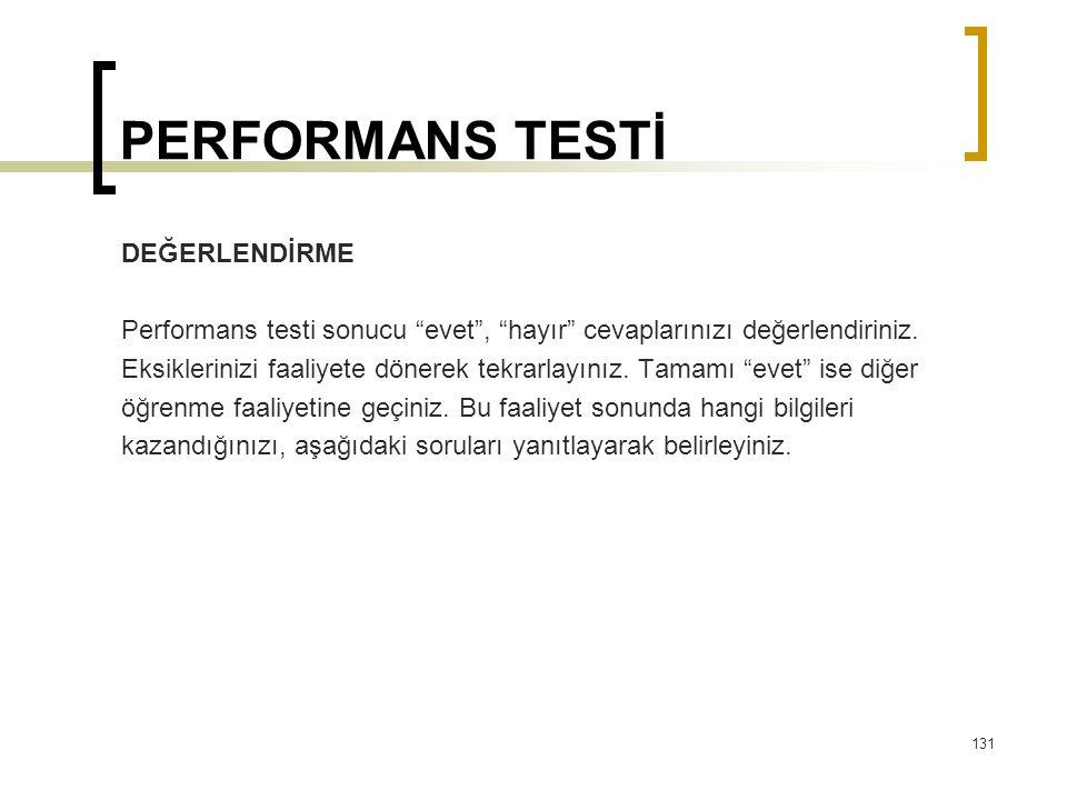 PERFORMANS TESTİ