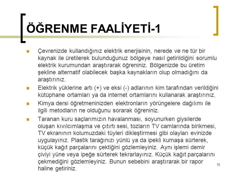 ÖĞRENME FAALİYETİ-1