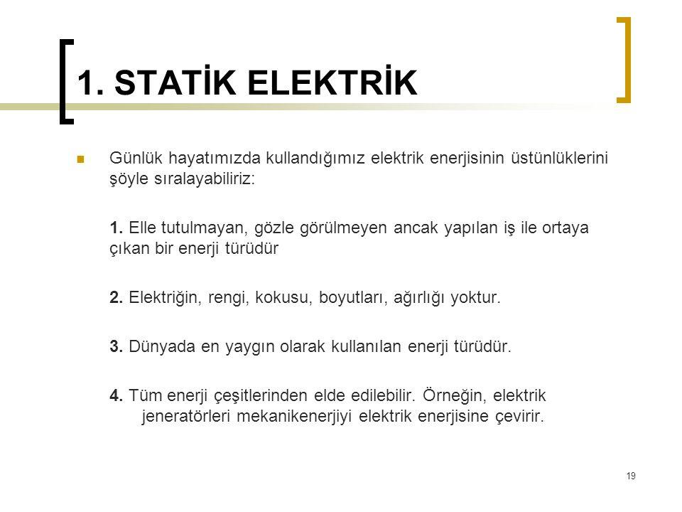 1. STATİK ELEKTRİK Günlük hayatımızda kullandığımız elektrik enerjisinin üstünlüklerini şöyle sıralayabiliriz: