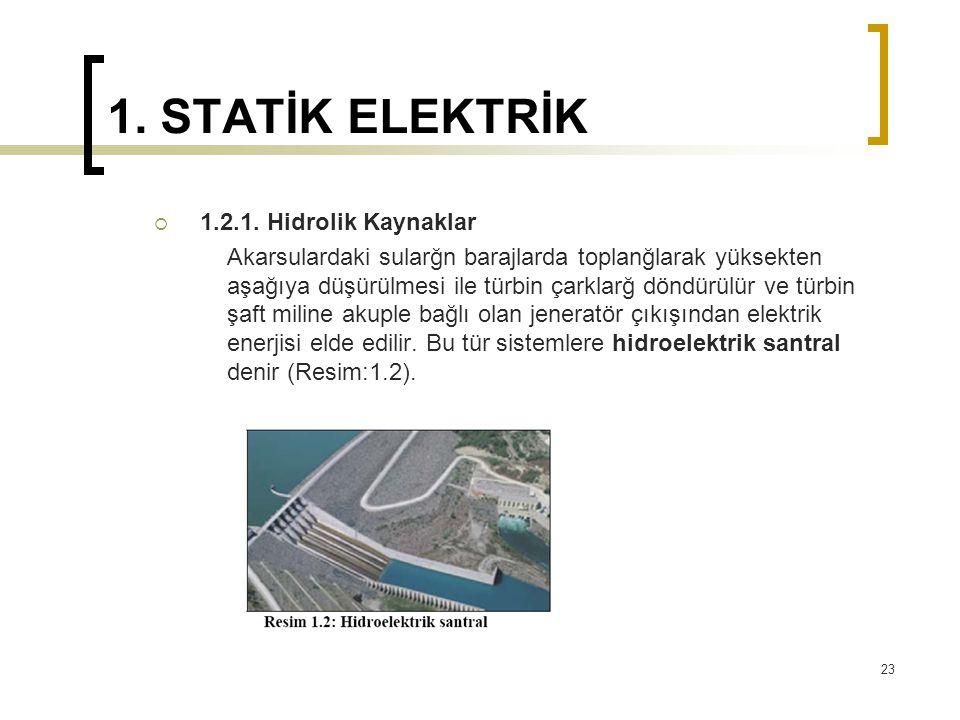 1. STATİK ELEKTRİK 1.2.1. Hidrolik Kaynaklar