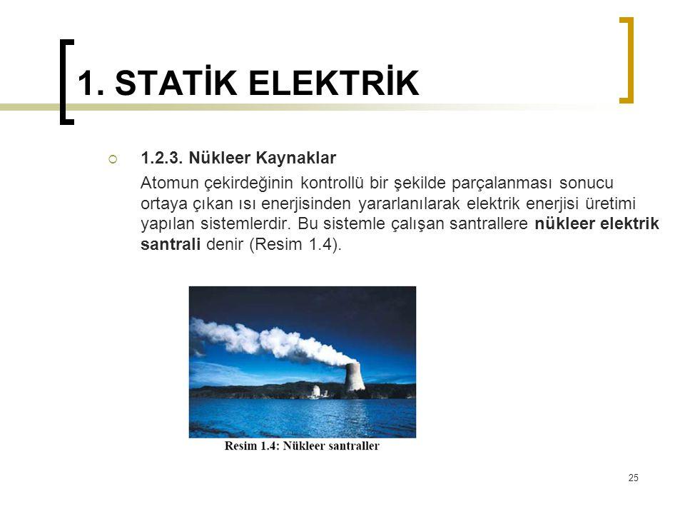 1. STATİK ELEKTRİK 1.2.3. Nükleer Kaynaklar