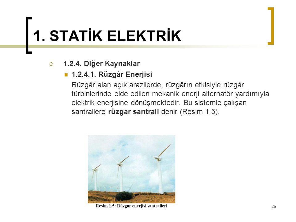 1. STATİK ELEKTRİK 1.2.4. Diğer Kaynaklar 1.2.4.1. Rüzgâr Enerjisi
