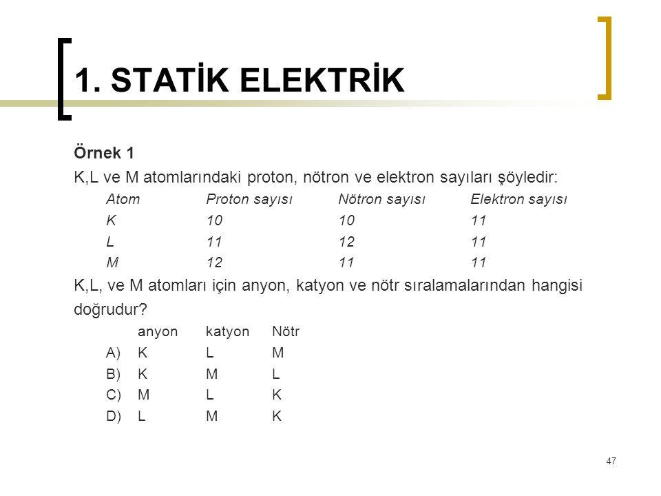 1. STATİK ELEKTRİK Örnek 1. K,L ve M atomlarındaki proton, nötron ve elektron sayıları şöyledir: