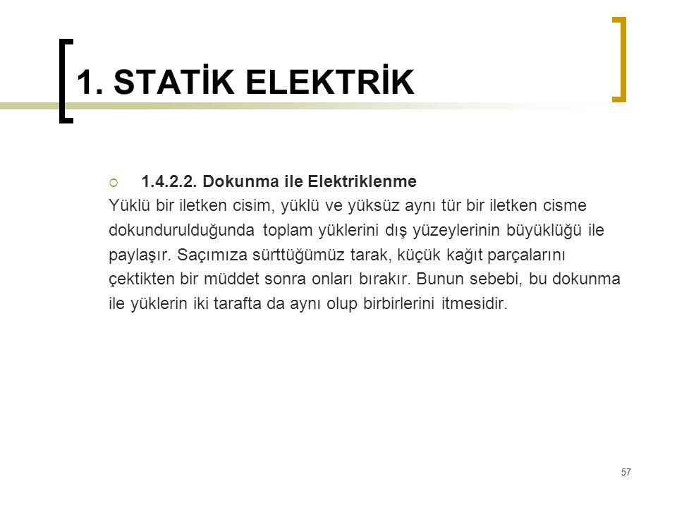 1. STATİK ELEKTRİK 1.4.2.2. Dokunma ile Elektriklenme