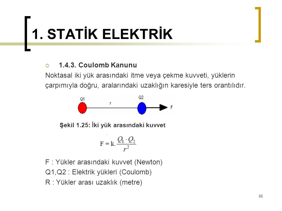 1. STATİK ELEKTRİK 1.4.3. Coulomb Kanunu