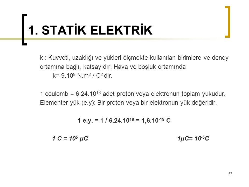 1. STATİK ELEKTRİK k : Kuvveti, uzaklığı ve yükleri ölçmekte kullanılan birimlere ve deney. ortamına bağlı, katsayıdır. Hava ve boşluk ortamında.