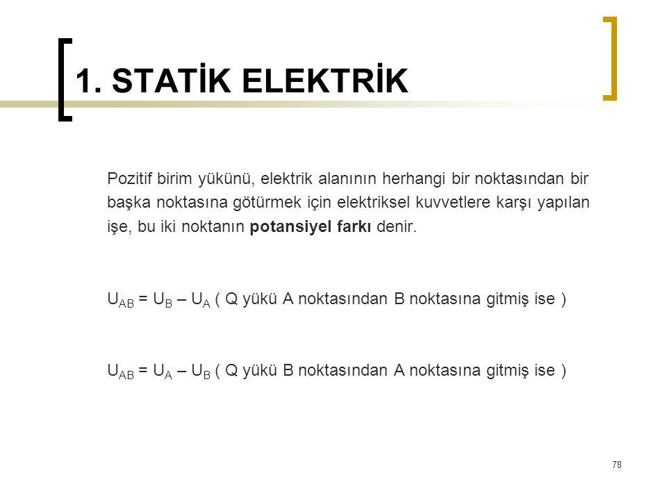 1. STATİK ELEKTRİK Pozitif birim yükünü, elektrik alanının herhangi bir noktasından bir.