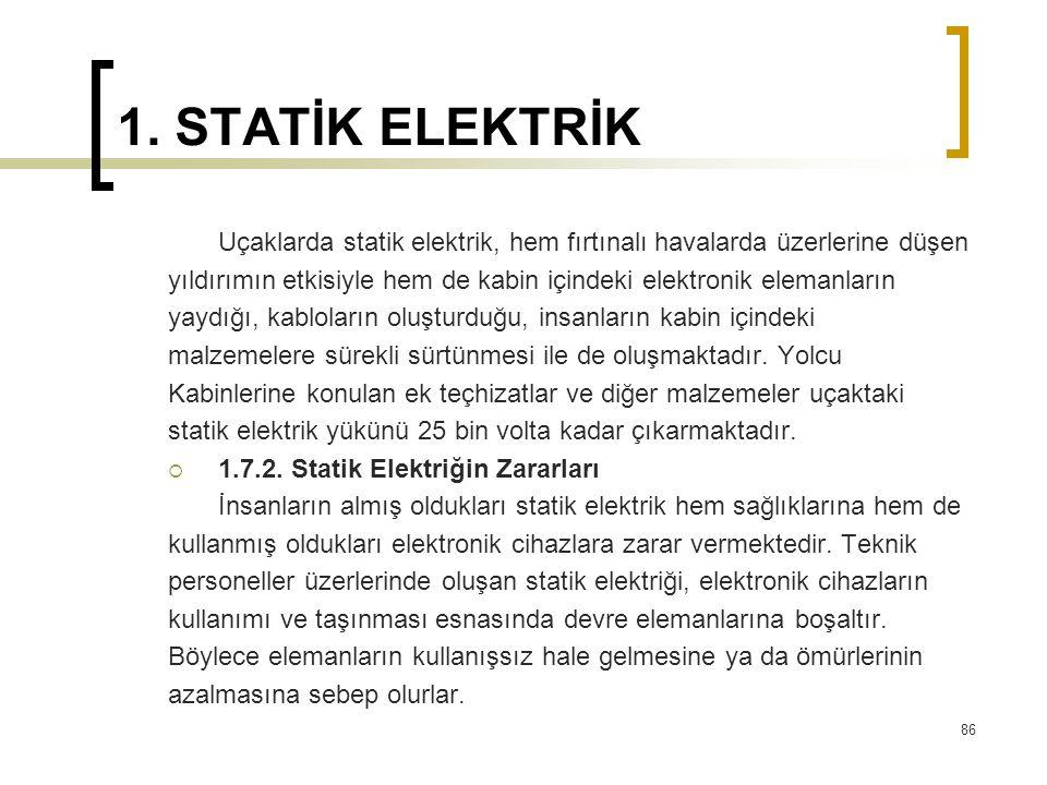 1. STATİK ELEKTRİK Uçaklarda statik elektrik, hem fırtınalı havalarda üzerlerine düşen.
