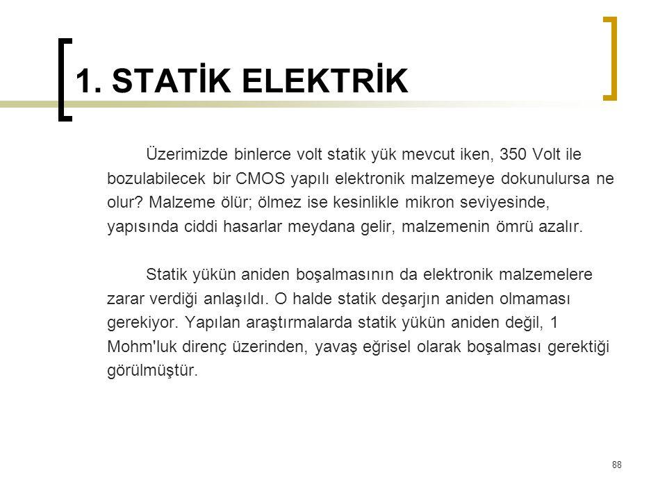 1. STATİK ELEKTRİK Üzerimizde binlerce volt statik yük mevcut iken, 350 Volt ile. bozulabilecek bir CMOS yapılı elektronik malzemeye dokunulursa ne.