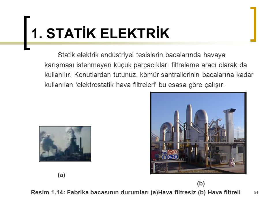 1. STATİK ELEKTRİK Statik elektrik endüstriyel tesislerin bacalarında havaya. karışması istenmeyen küçük parçacıkları filtreleme aracı olarak da.