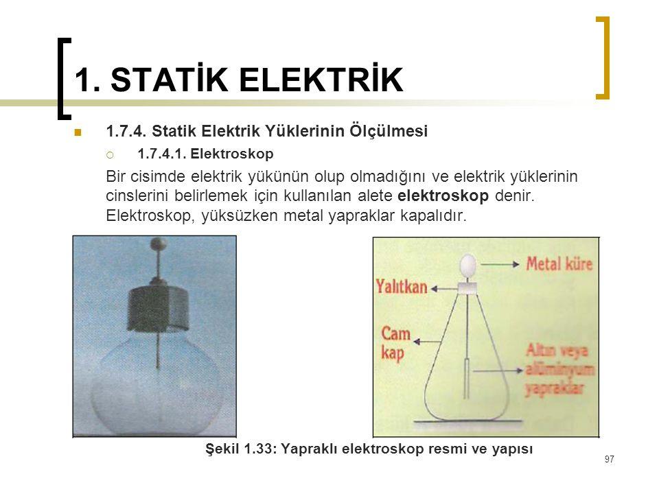 1. STATİK ELEKTRİK 1.7.4. Statik Elektrik Yüklerinin Ölçülmesi
