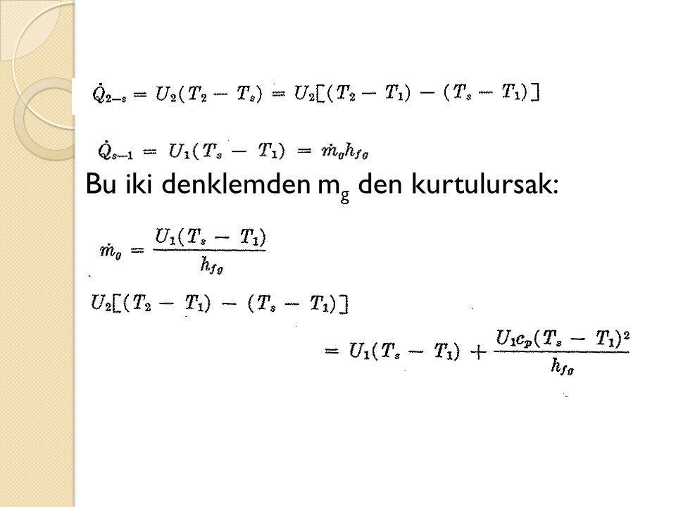Bu iki denklemden mg den kurtulursak: