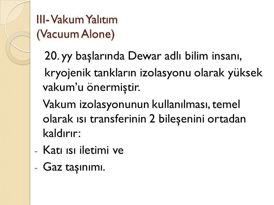 III- Vakum Yalıtım (Vacuum Alone)