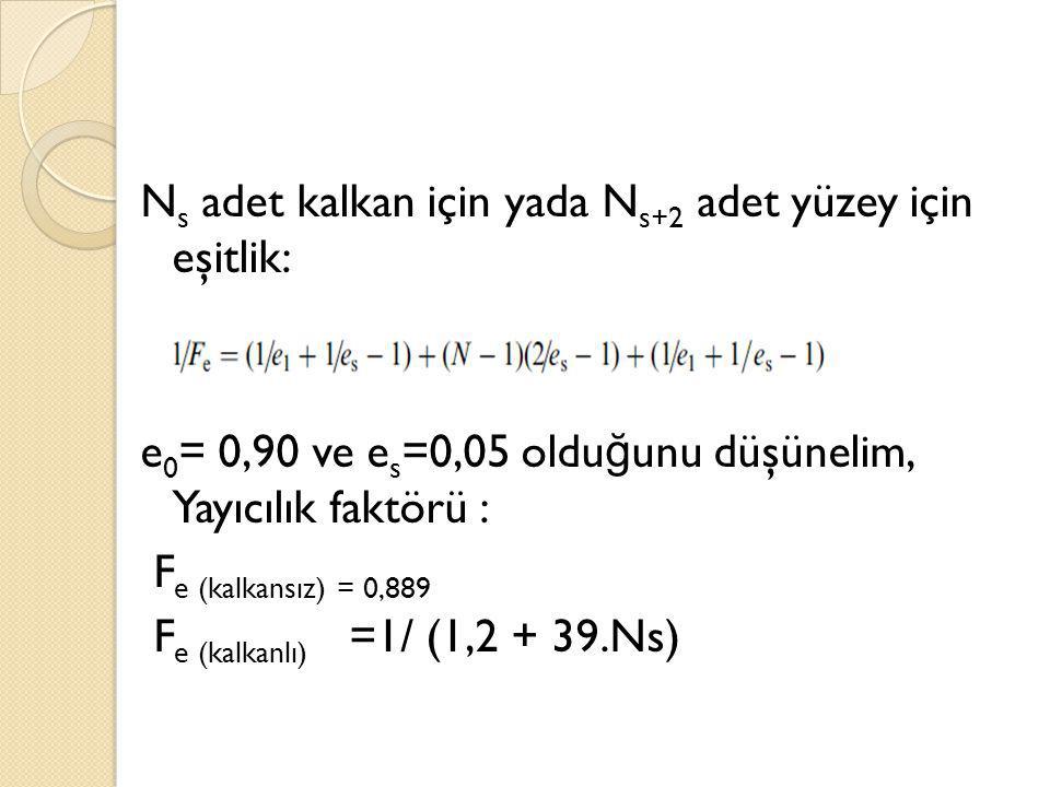 Ns adet kalkan için yada Ns+2 adet yüzey için eşitlik: e0= 0,90 ve es=0,05 olduğunu düşünelim, Yayıcılık faktörü : Fe (kalkansız) = 0,889 Fe (kalkanlı) =1/ (1,2 + 39.Ns)