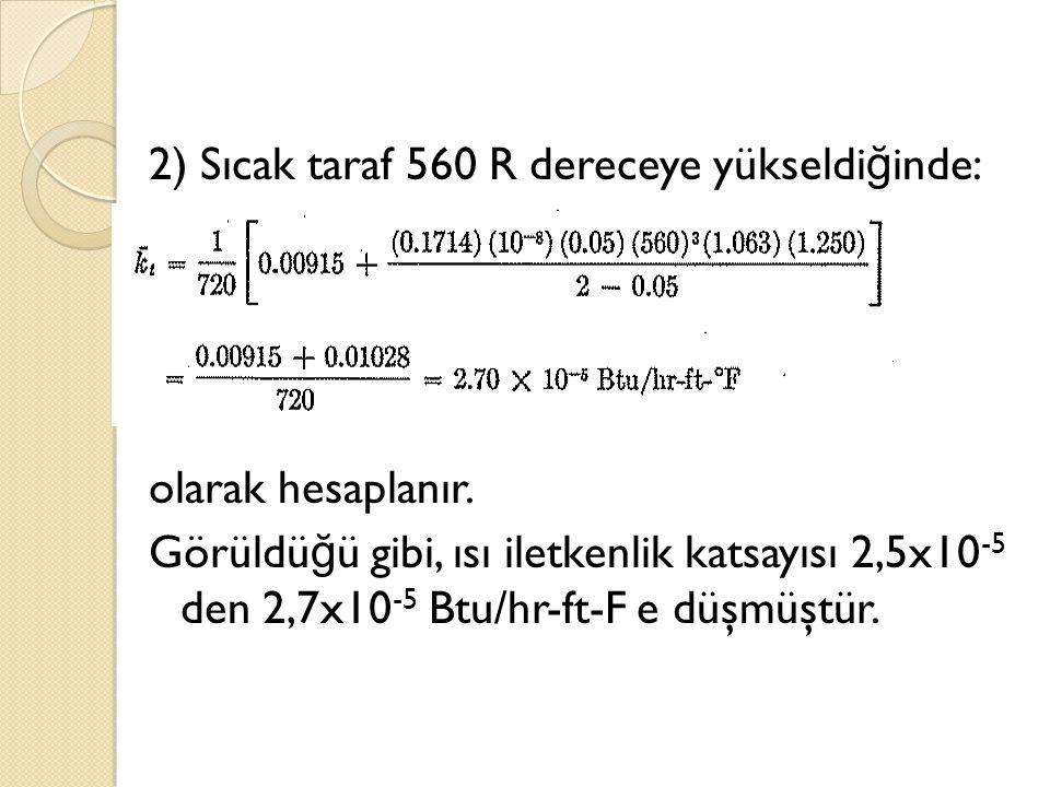 2) Sıcak taraf 560 R dereceye yükseldiğinde: olarak hesaplanır