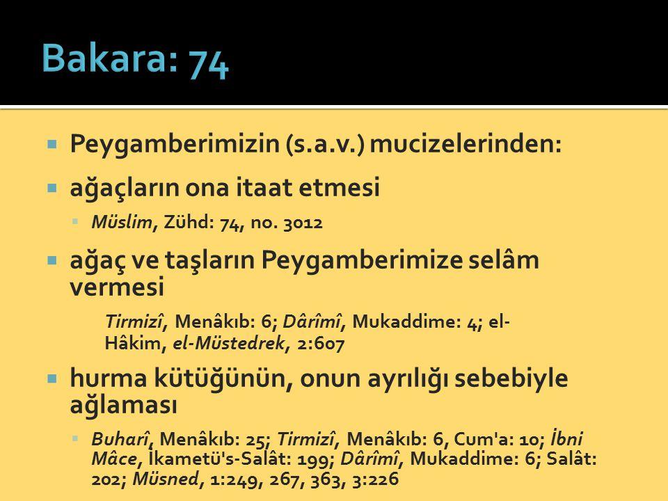 Bakara: 74 Peygamberimizin (s.a.v.) mucizelerinden: