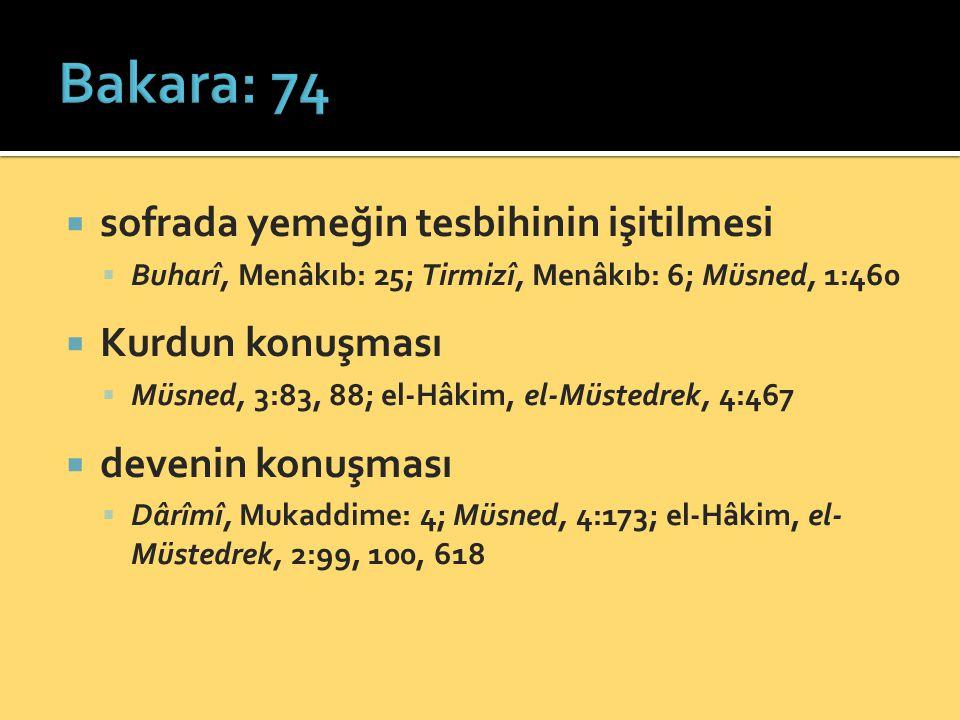 Bakara: 74 sofrada yemeğin tesbihinin işitilmesi Kurdun konuşması