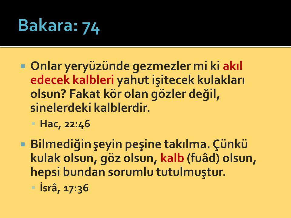 Bakara: 74 Onlar yeryüzünde gezmezler mi ki akıl edecek kalbleri yahut işitecek kulakları olsun Fakat kör olan gözler değil, sinelerdeki kalblerdir.