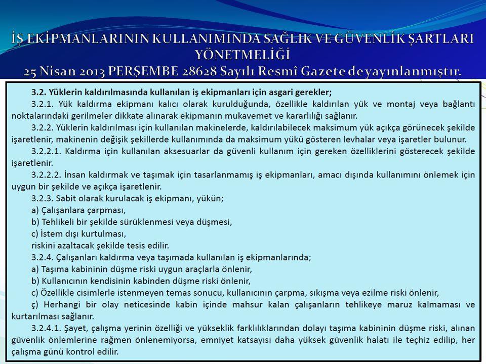 İŞ EKİPMANLARININ KULLANIMINDA SAĞLIK VE GÜVENLİK ŞARTLARI YÖNETMELİĞİ 25 Nisan 2013 PERŞEMBE 28628 Sayılı Resmî Gazete de yayınlanmıştır.