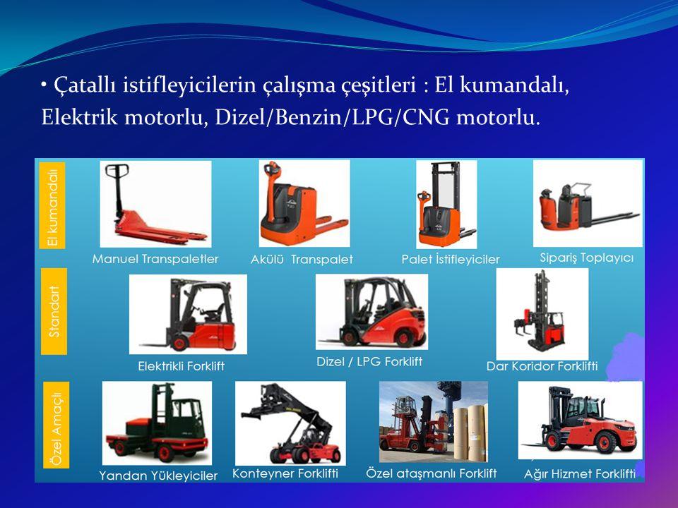 • Çatallı istifleyicilerin çalışma çeşitleri : El kumandalı, Elektrik motorlu, Dizel/Benzin/LPG/CNG motorlu.