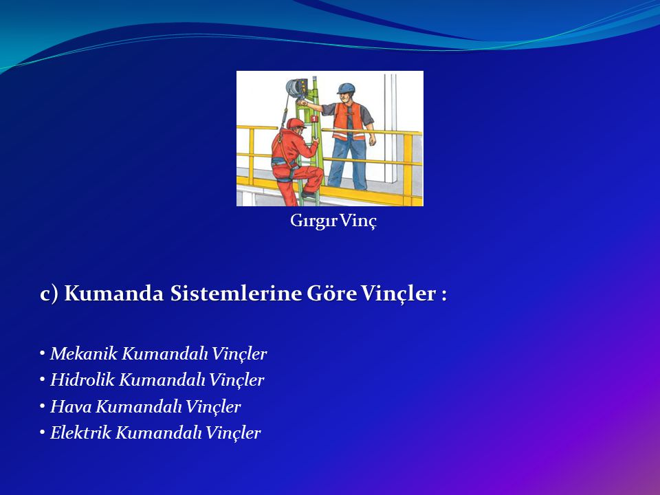 c) Kumanda Sistemlerine Göre Vinçler :