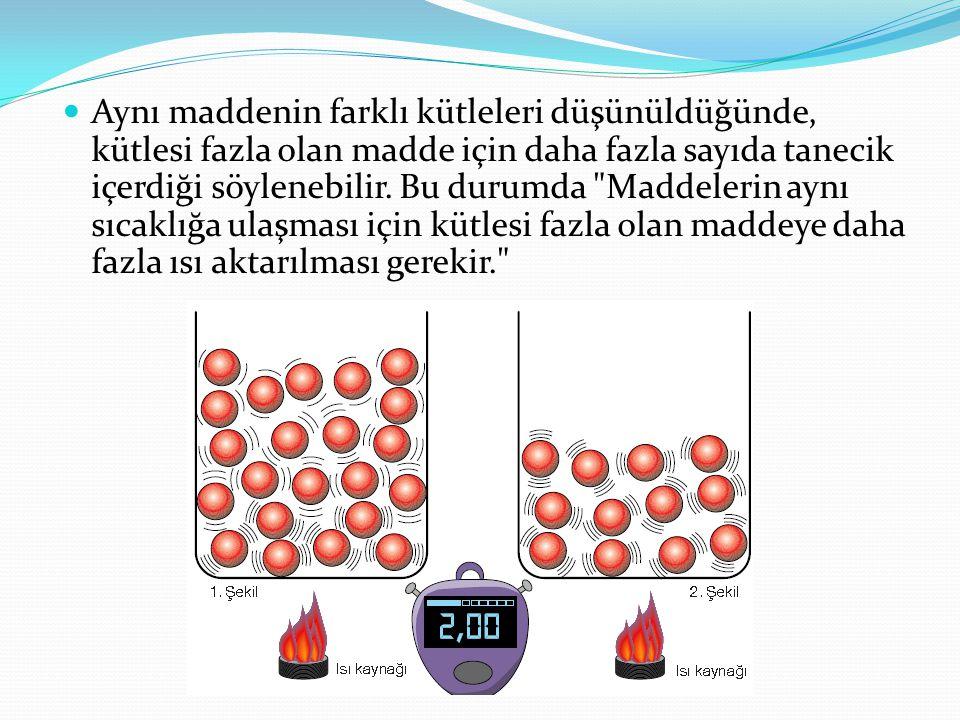 Aynı maddenin farklı kütleleri düşünüldüğünde, kütlesi fazla olan madde için daha fazla sayıda tanecik içerdiği söylenebilir.