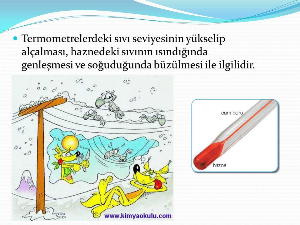 Termometrelerdeki sıvı seviyesinin yükselip alçalması, haznedeki sıvının ısındığında genleşmesi ve soğuduğunda büzülmesi ile ilgilidir.
