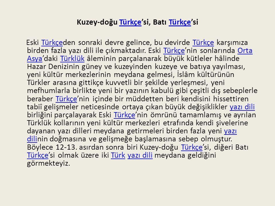 Kuzey-doğu Türkçe'si, Batı Türkçe'si