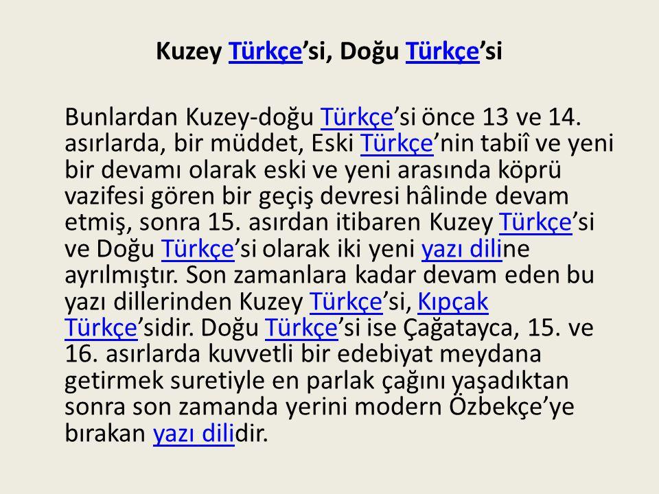 Kuzey Türkçe'si, Doğu Türkçe'si