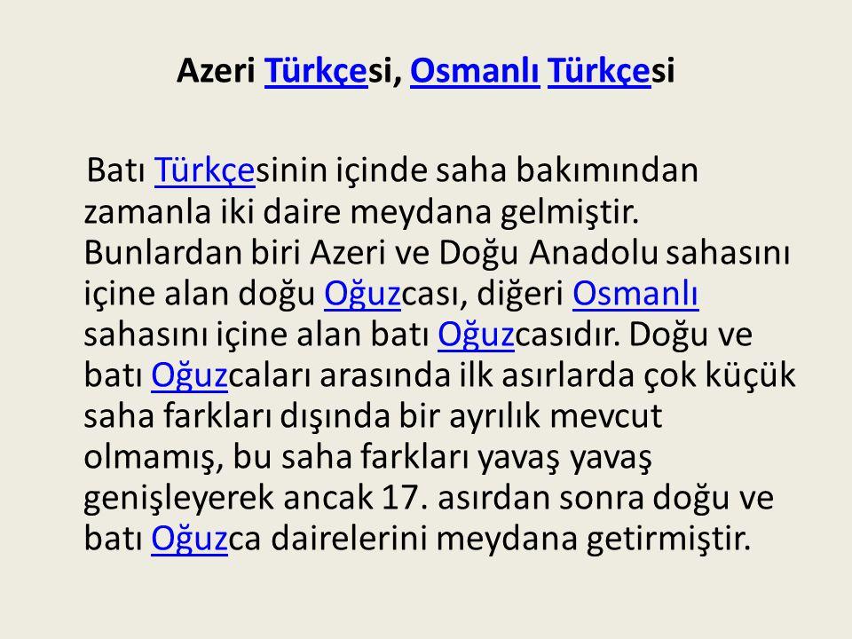 Azeri Türkçesi, Osmanlı Türkçesi
