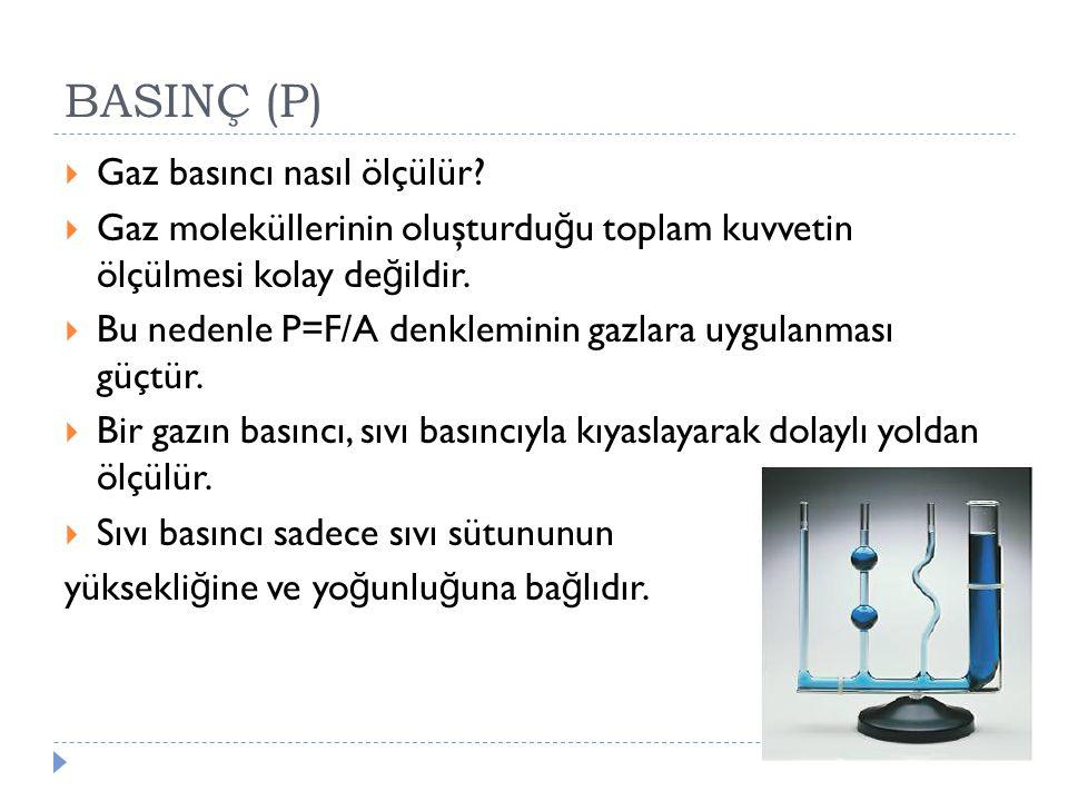 BASINÇ (P) Gaz basıncı nasıl ölçülür