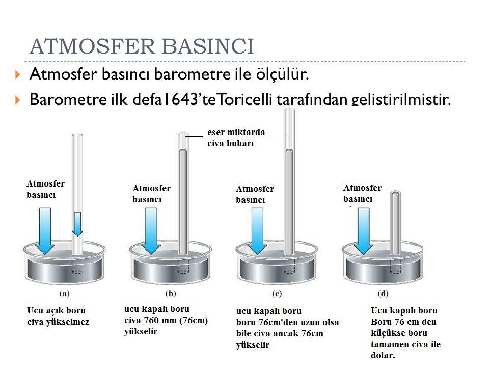 ATMOSFER BASINCI Atmosfer basıncı barometre ile ölçülür.
