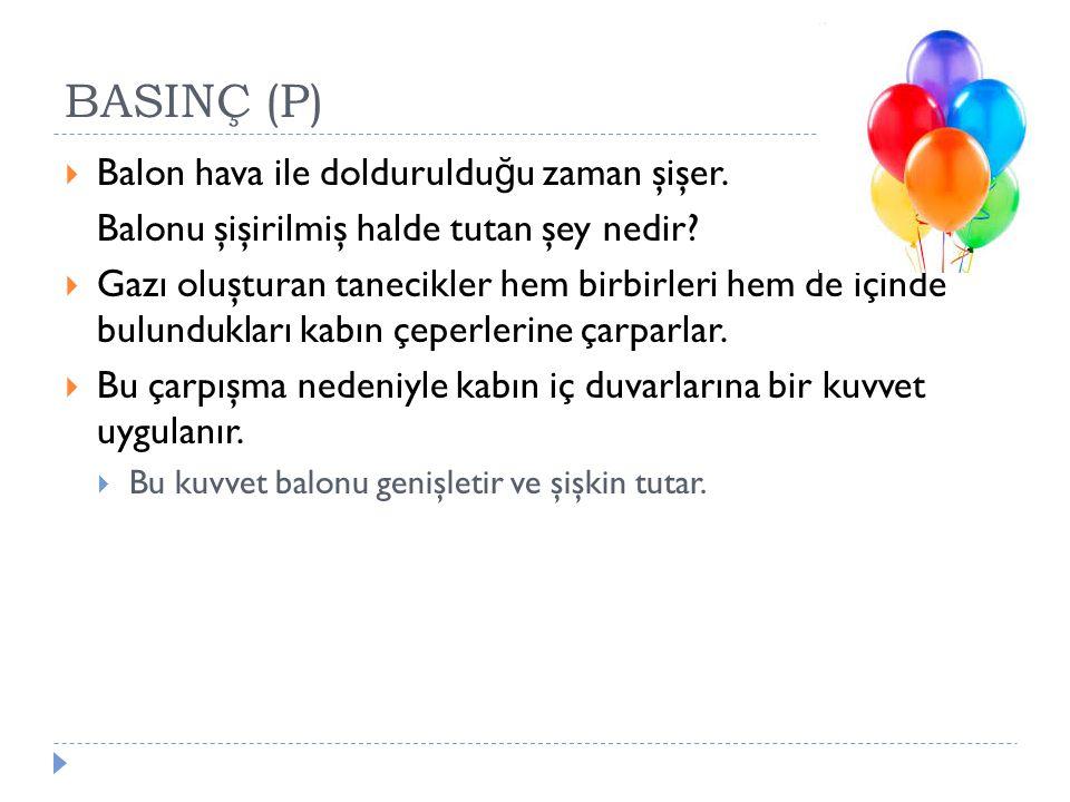 BASINÇ (P) Balon hava ile doldurulduğu zaman şişer.