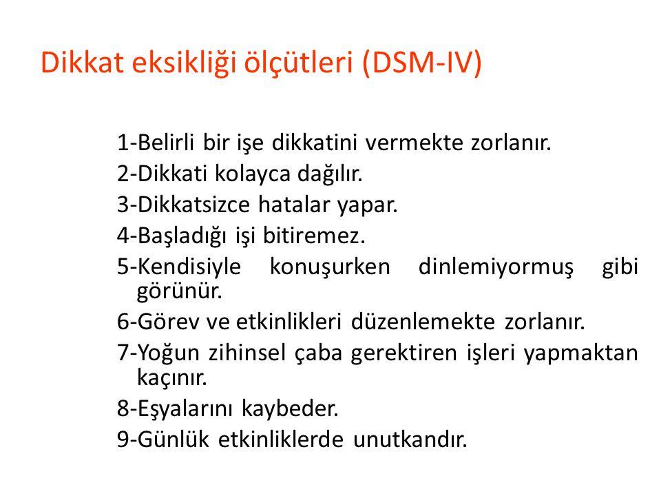 Dikkat eksikliği ölçütleri (DSM-IV)
