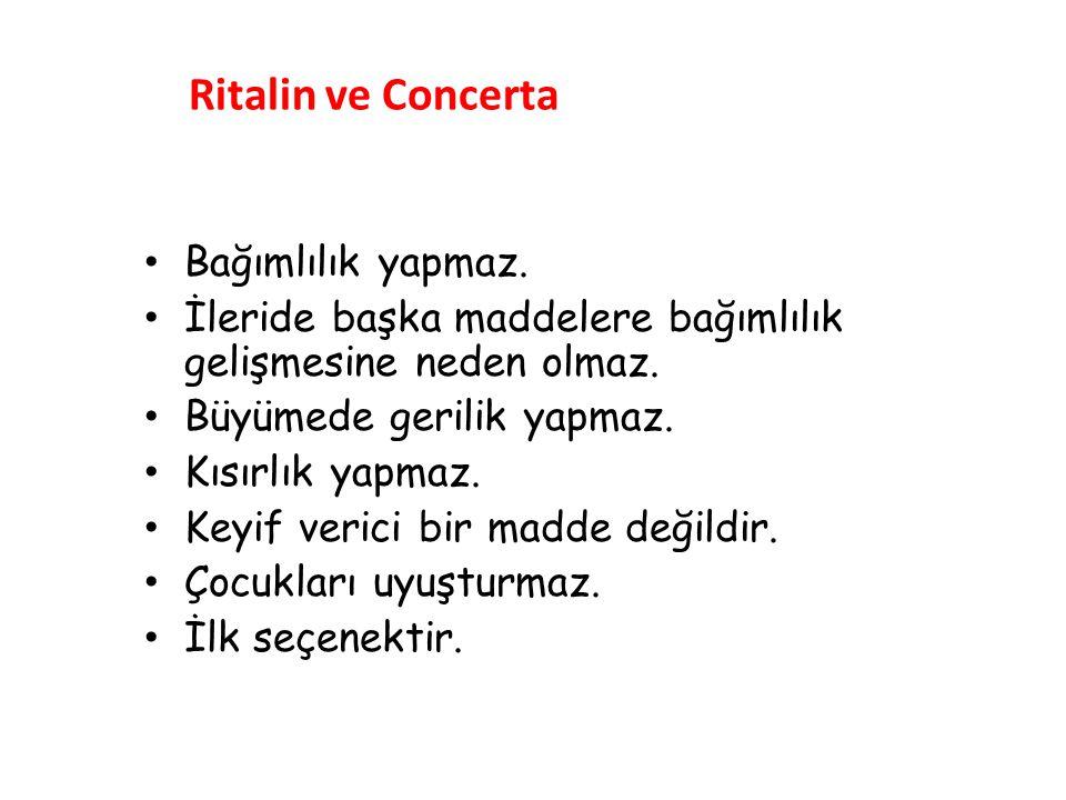 Ritalin ve Concerta Bağımlılık yapmaz.