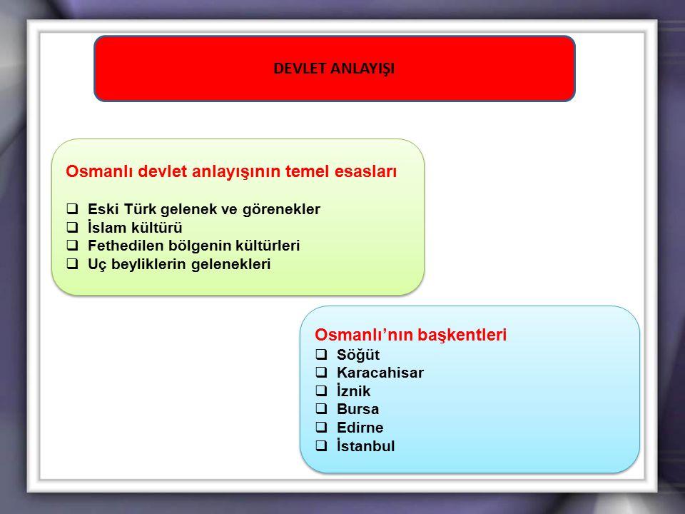 Osmanlı devlet anlayışının temel esasları