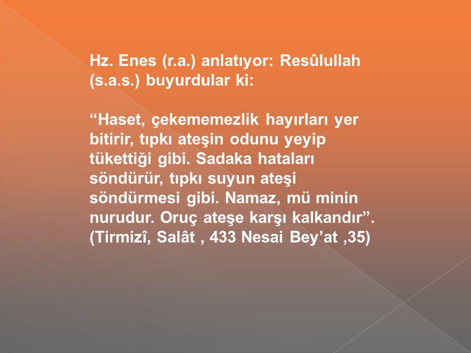 Hz. Enes (r. a. ) anlatıyor: Resûlullah (s. a. s