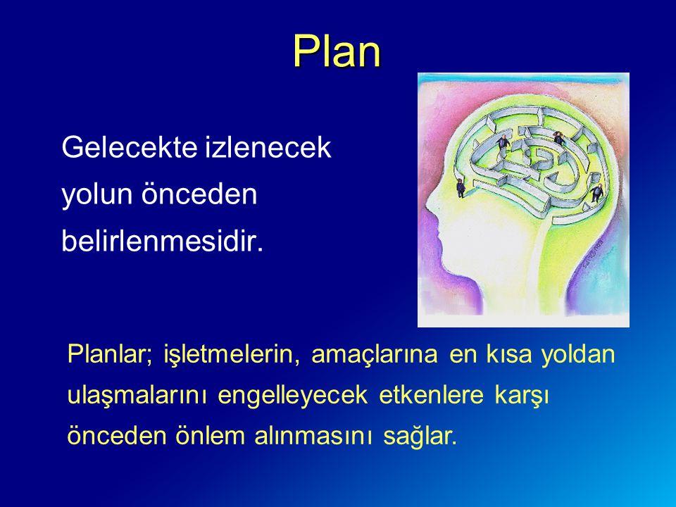 Plan Gelecekte izlenecek yolun önceden belirlenmesidir.