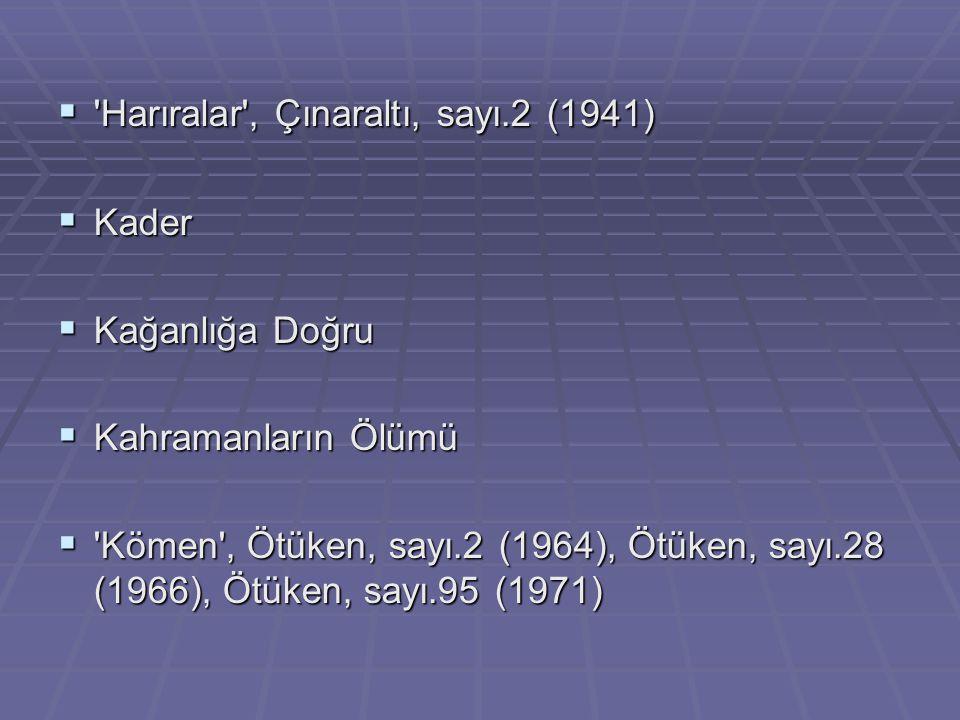 Harıralar , Çınaraltı, sayı.2 (1941)