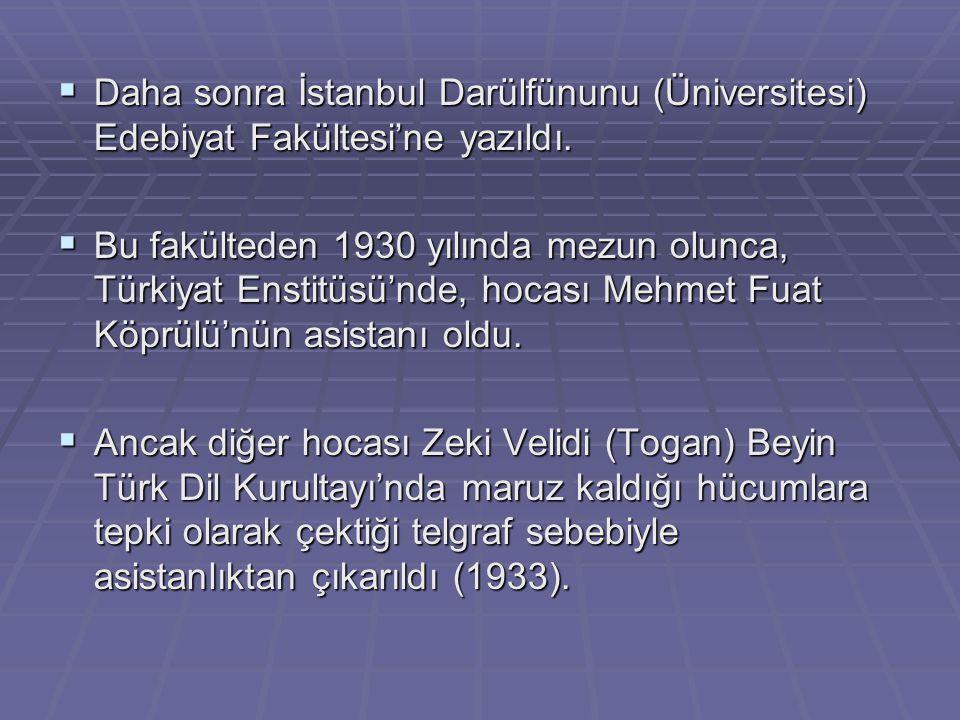 Daha sonra İstanbul Darülfünunu (Üniversitesi) Edebiyat Fakültesi'ne yazıldı.
