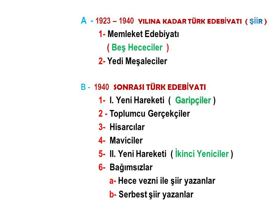 A - 1923 – 1940 YILINA KADAR TÜRK EDEBİYATI ( ŞİİR )
