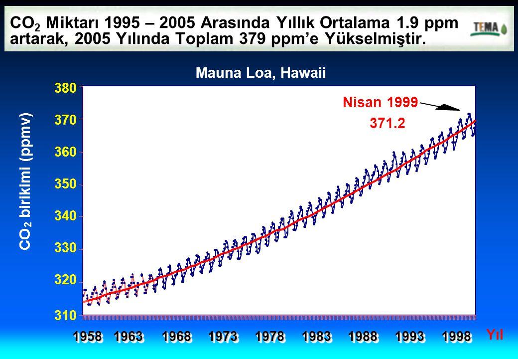 CO2 Miktarı 1995 – 2005 Arasında Yıllık Ortalama 1