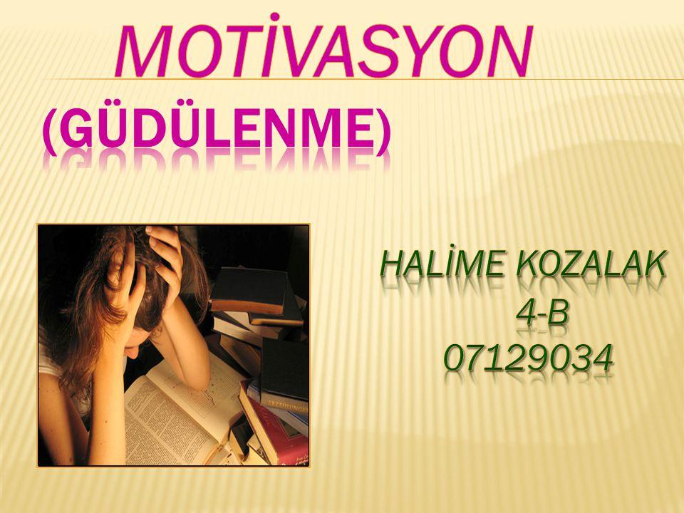 MOTİVASYON (GÜDÜLENME) HALİME KOZALAK 4-B 07129034