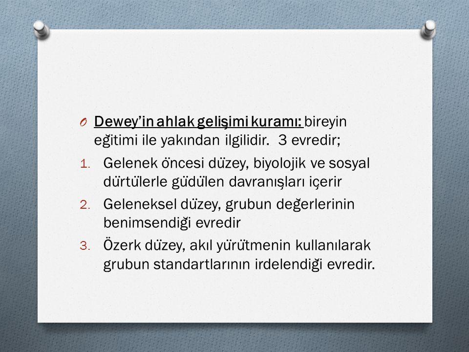 Dewey'in ahlak gelişimi kuramı: bireyin eğitimi ile yakından ilgilidir. 3 evredir;