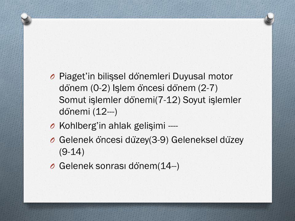 Piaget'in bilişsel dönemleri Duyusal motor dönem (0-2) İşlem öncesi dönem (2-7) Somut işlemler dönemi(7-12) Soyut işlemler dönemi (12---)