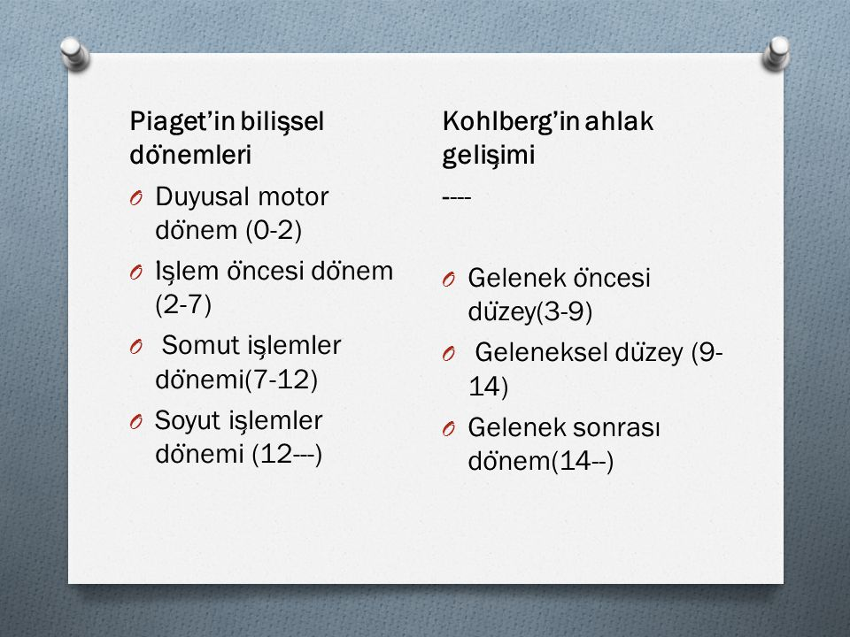 Piaget'in bilişsel dönemleri