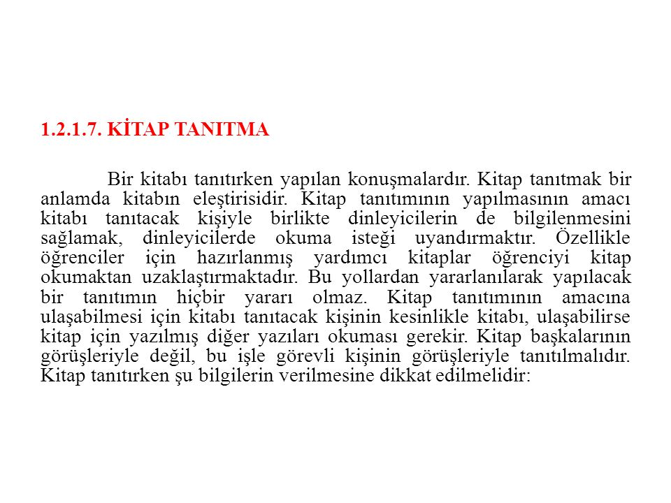 1.2.1.7. KİTAP TANITMA